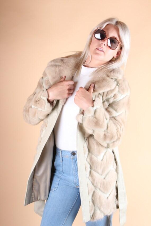 vtg 70's cream diamond CHEVRON mink FUR + LEATHER tie waist coat