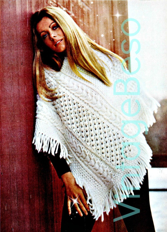 Knitting Pattern Aran Cape : Aran Poncho Knitting Pattern Vintage 1970s Irish by VintageBeso