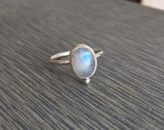 Sterling silver Rainbow Moonstone Stacker. Moonstone Stacking Ring. Size 6.