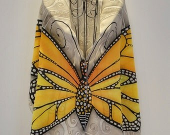 """Hand painted pure silk scarf """"The Great Monarch Butterfly"""" - butterfly scarf- butterfly wings-monarch butterflies-wings scarf"""