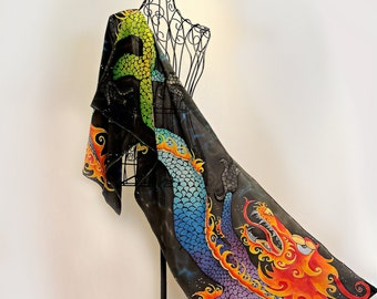 Unique hand painted silk scarf- Chinese Rainbow Dragon- dragon scarves-abstract scarves-art scarf-chinese art