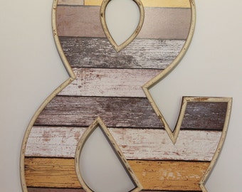 "Large Ampersand ""&"", 26 x 18, wedding decor, wood letters, shabby chic, distressed, rustic, vintage, painted"