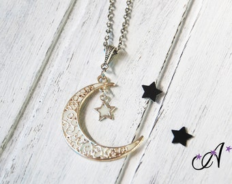 Necklace chain pendant to connector Moon from which hangs a phosphorescent star shaped glow in the dark, made to order