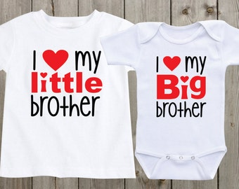 Matching Shirts Sibling Shirts Set of 2 I love my Big brother Little Brother Matching Sibling Shirts Baby Shower Gifts