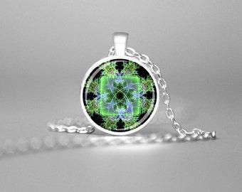 GREEN FLORAL FRACTAL Mandala Charm Necklace Mandala Art Mandala Pendant Sacred Geometry Meditative Necklace Mandala Jewelry Necklace Gift