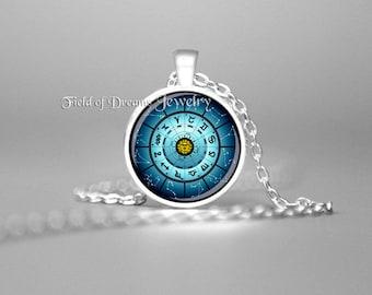 ZODIAC ASTROLOGY CHART Zodiac Necklace Rose Charm Astrology Necklace Zodiac Pendant Zodiac Astrology Jewelry Horoscope Necklace Zodiac Blue