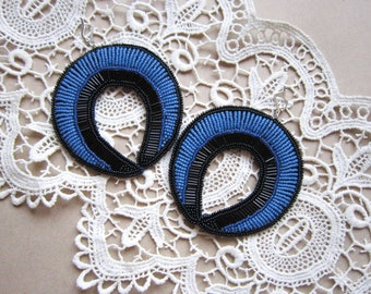 Large hoop earrings, Large earrings, Beaded hoop earrings, Beaded earrings, Fashion earrings, Statement earrings