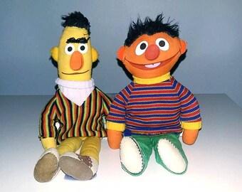Vintage Bert and Ernie Dolls 1968 Knickerbocker Sesame Street Plush Toys set of two