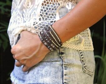 Opal Grey Wrap Bracelet; Leather Wrap Bracelet, Opal Grey Sodalite Bracelet, 5 wrap Leather Bracelet, Beaded Wrap Bracelet