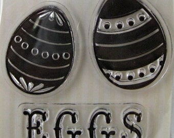 "We R Memory Keepers ""Eggs"" Clear Stamps, 3 Clear Acrylic Scrapbooking Stamps 3""x3"", Easter Holiday Scrapbooking Ideas, Embellishments"