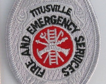 Titusville Fire & Emergency Services Embroidered (silver), Embroidery Patch, Paramedic Patch, Applique, Embroidered Patch, Vintage Patch