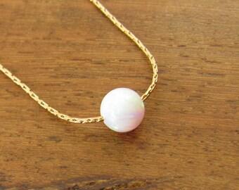 Opal necklace, opal ball necklace, opal gold necklace, opal jewelry, tiny dot necklace, opal bead necklace, dot necklace, white opal