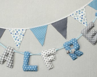Baby Name Letters, Baby Blue and Gray Name Bunting, Personalized Kids Name, Baby Nursery Wall Letters, Baby Boy Nursery Decor