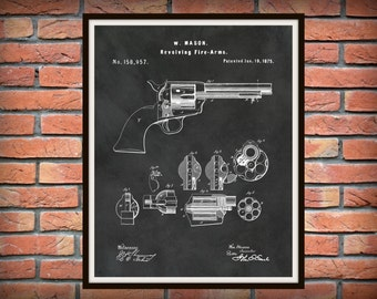1875 Colt 45 Patent Print Revolver Peacemaker Designed by William Mason for Colt Fire Arms Wall Art - Fire Arm - Weapon - Western Gun