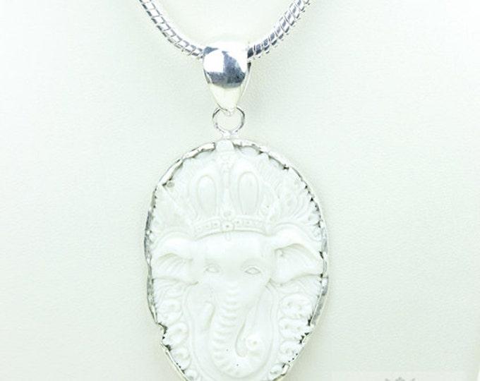 Lord Ganesha DEER ANTLER TOTEM Goddess Face Moon Face Bone Carving 925 S0LID Sterling Silver Pendant + 4MM Chain p3834