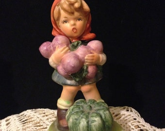Hummel Like Girl Figurine Girl with Grapes and Pumpkin Japan Collectible German Girl Statuette Vintage Collectible Figurine Curio Figurine