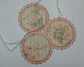 Thank you tags shabby chic pink and green pink roses sparkly scalloped handstamped tea party thank you tags - set of 8