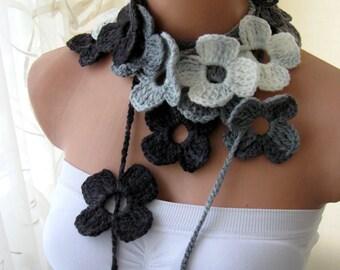 Gray Flower Scarf Hand Crochet Lariat Scarf