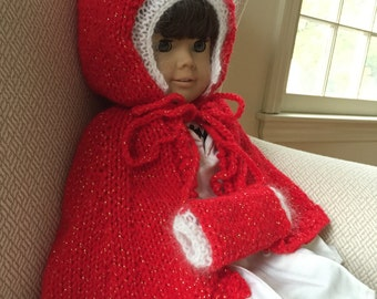 Red Knit American Girl Doll Outfit Holiday Cape/Coat and Muff ; White Sparkles ; Gift for Girls