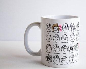 Meme Mug, Rage Face Mug, Funny Mug, Emotion Mug, Coffee Cup, Funny Coffee Mug, Funny Coffee Cup, Derp Face Mug, Derp Face Meme