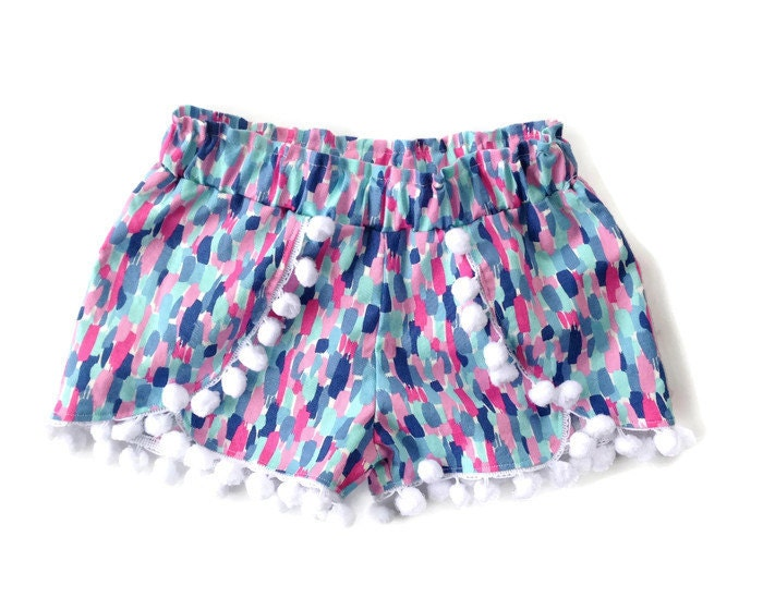 Coachella shorts pom pom shorts pink and blue by helloellieshop