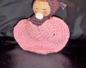 Doll - Hand Crocheted -  Sleeping Baby -Dusty Purple/Metalic Pink