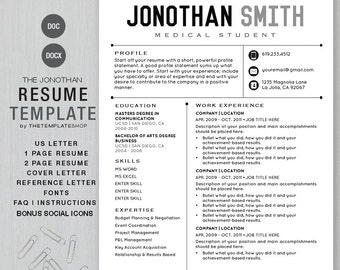 resume template cv template for word diy printable 4 pack social media icons the jonothan instant download docx and doc media resume template