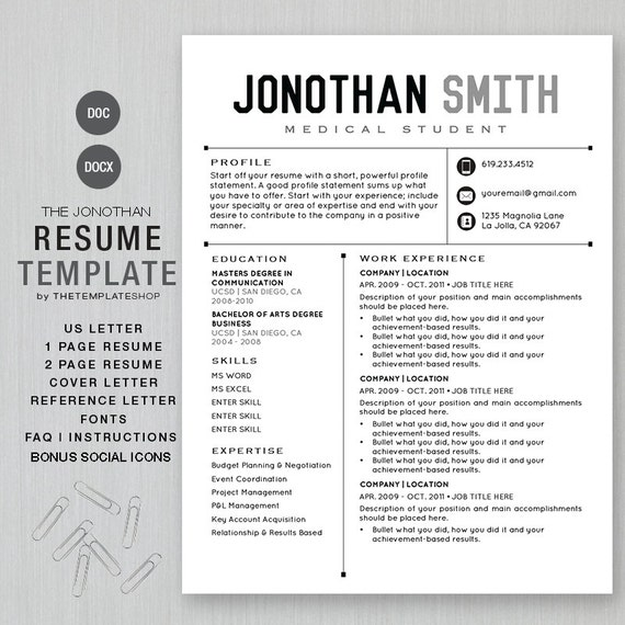 resume template cv template for word diy printable 4 pack