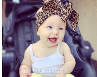 Cheetah Turban Headband, Cheetah Head wrap, Retro baby head wrap, Toddler Headwrap, Big Bow head wrap, Infant-Adult (READY TO SHIP)