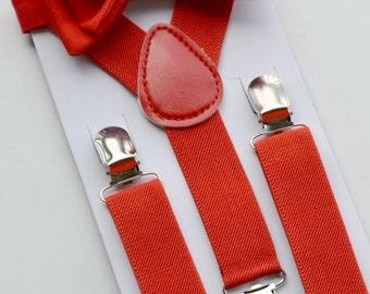 Red Bow Tie & Red Suspenders -- Child Suspenders Bow Tie -- Adult Suspenders Bow Tie. SHIPS FAST!**