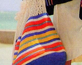 Crochet Vintage Multi-Colored Beach Bag Pattern, Market Tote, Shopping Bag, Book Bag, Beach Bag, Sports Bag PATTERN - Instant download