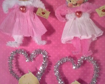 Set of 4 Vintage Style Chenille Kewpie Valentines Day Ornaments
