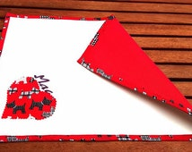 VALENTINES DOG PLACEMAT Red Heart Pocket Scottish Terrier Feeding Mat White Faux Leather Fabric Reversible Waterproof Handmade Birthday Gift