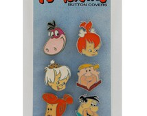 The Flintstones Novelty Button Covers, Hanna Barbera, 90s, Cartoon Jewelry, Fred Flintstone, Wilma, Pebbles, Bam Bam, Barney Rubble, Dino