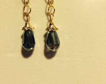 Drop Down Earrings- Gold Chain, Blue/Green Bead