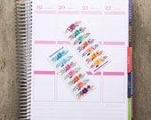 28 floral banner stickers, box topper stickers, life planner stickers, scrapbook sticker, reminder checklist sticker, square stickers