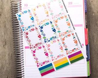9 full box sticker, floral square sticker, planner stickers, scrapbook reminder eclp filofax happy planner kikkik