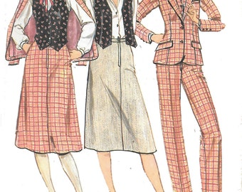 UNCUT Hard to Find 1970's Quick! Butterick  Pattern 6407 - Junior Petite Fitted Jacket, Vest, Skirt and Pants Suit Pieces - JP Size 11