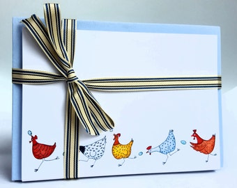 Gift stationery, chicken thank you cards, house warming cards, chicken stationery, chicken notelets, chicken note cards, unique cards