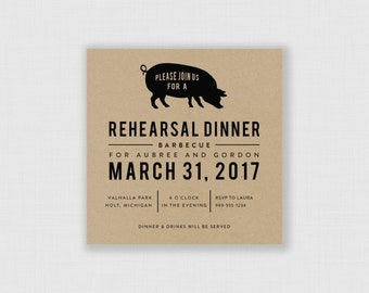 "BBQ Rehearsal Dinner Kraft 5"" x 5"" Invitation - Digital or Printed"