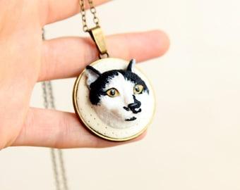 Custom pet portrait, custom cat portrait, custom clay pet, polymer clay custom cat portrait, custom clay cat jewelry, custom pet jewelry