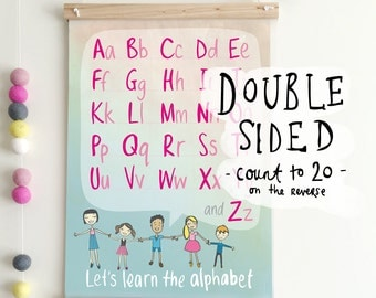 SALE 25% off // ABC + COUNT - Double Sided A3 Poster