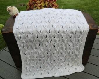 Willow Knitted Baby Blanket / Christening Blanket / Baptism Blanket
