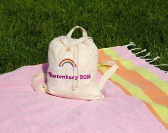 Personalised Festival Hippie Bag for Glastonbury, Reading, Leeds, Choose from 6 Logos, Natural or Black