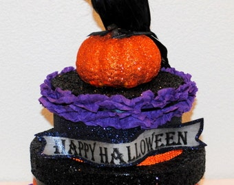 Halloween Decorated Crow Decoration, Halloween Centerpiece, Halloween Crow Gift Box, Glittered Halloween Decoration, Crow on a Box