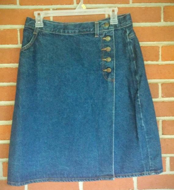 vintage denim skirt wrap style size 12 vivaldi denim