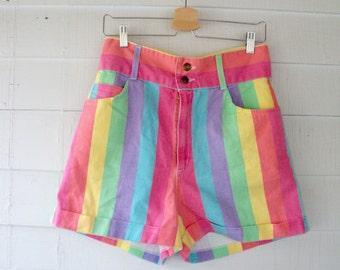 90s CANDY Stripe HIGH WAISTED Denim Shorts 6 8 Medium