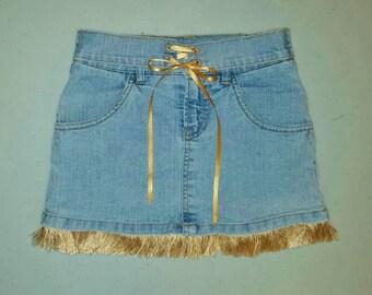 Denim Skirt - size 6X - Denim Skirt with Fringe - Upcycled Clothing - Repurposed Clothing