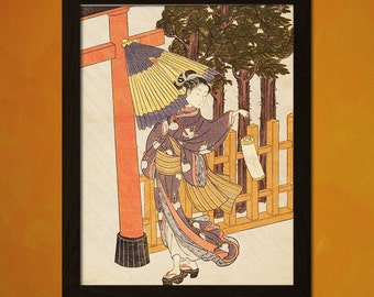 Japanese Art - Suzuki Harunobu Artwork -  Ukiyo-e Art Home Decor Oriental Decor Asian Art Edo Period Asian Prints  t