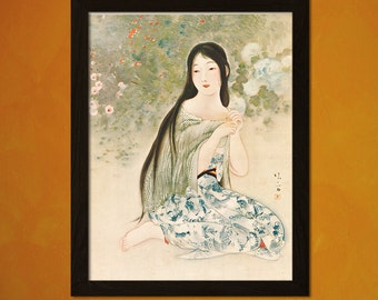 Japanese Art - Kaburagi Kiyokata Artwork 1921 - Ukiyo-e Art Home Decor Oriental Decor Asian Art Edo Period Japanese Artists   Reproduction